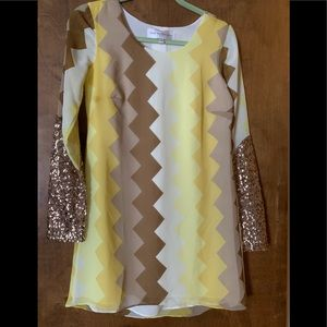 60's style dress, sequin sleeves